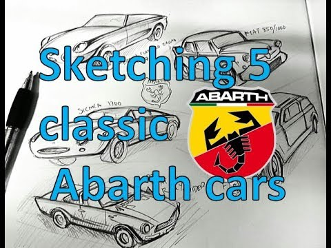 Sketching 5 classic cars ---5 classic Abarth vehicles