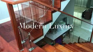 Balconic's Design Stair-railing Glass Handrail wood balcony ราวกันตก ราวบันได กระจก สแตนเลส