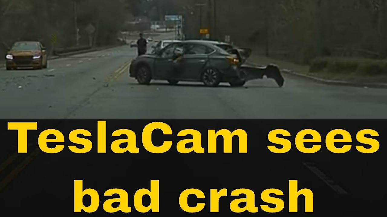 Tesla Dashcam TeslaCam catches major car crash - YouTube
