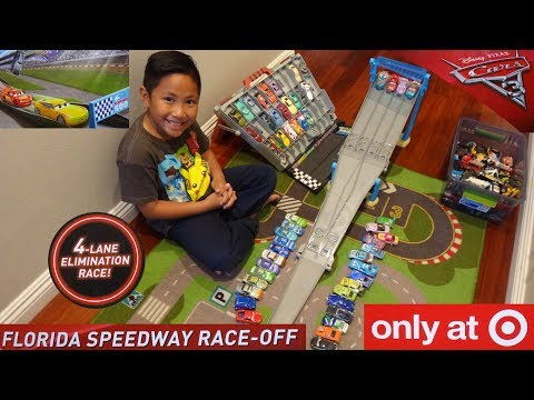 Disney Cars 3 Florida 500 Speedway Race-Off 4-Car Elimination Racing Track Set
