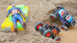 덤프트럭 구출놀이 포크레인 지게차 중장비 자동차 놀이 …