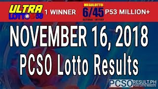 PCSO Lotto Results Today November 16, 2018 (6/58, 6/45, 4D, Swertres, STL & EZ2)