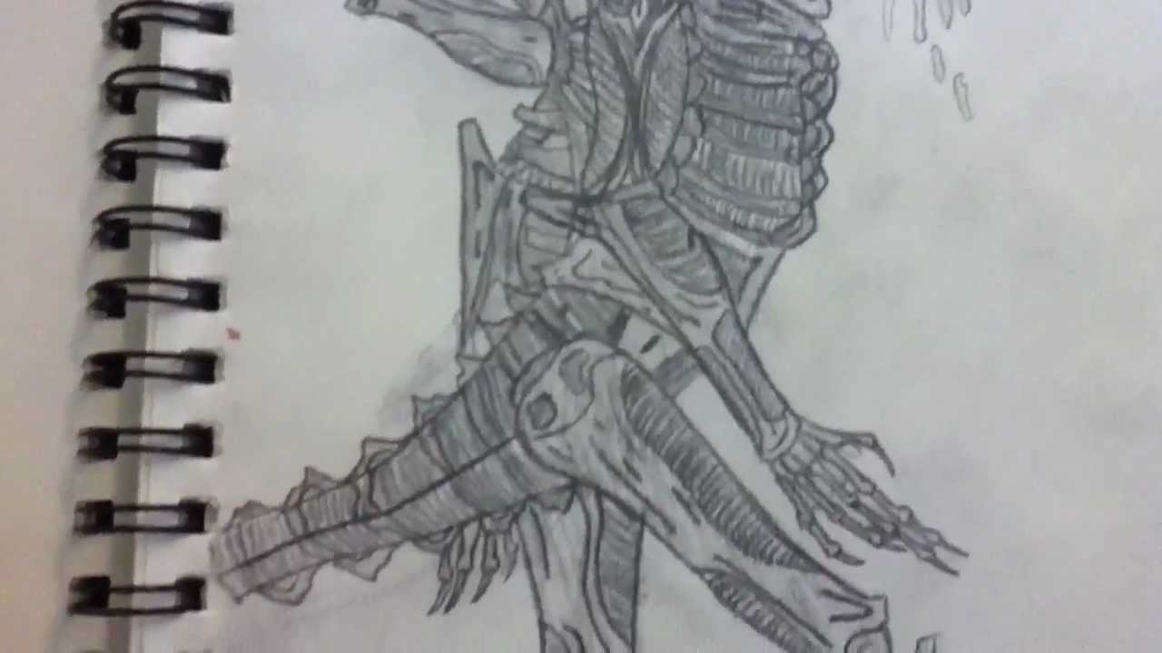 my avp alien drawings youtube