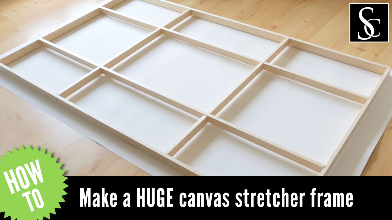 how to make a canvas stretcher frame and how to mount the canvas youtube. Black Bedroom Furniture Sets. Home Design Ideas