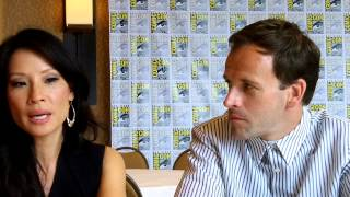 "Interview with stars Lucy Liu and Jonny Lee Miller of ""Elementary"" ..."