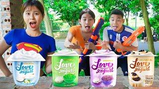 Beautiful Girl Nerf Guns Fight Criminal Group Dispute Mixed Fruit Yoghurt Battle   Moon Nerf War
