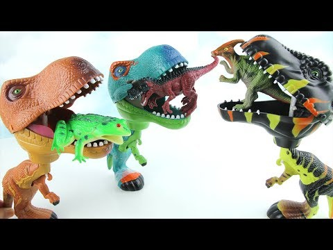 Thumbnail: 3 T-Rex Eat Dinosaur Eggs. Learn Names of Dinosaurs with Tayo Insect Frog Toys. 먹보 공룡 곤충 타요 알 냠냠