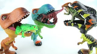 3 T-Rex Eat Dinosaur Eggs. Learn Names of Dinosaurs with Tayo Insect Frog Toys. 먹보 공룡 곤충 타요 알 냠냠