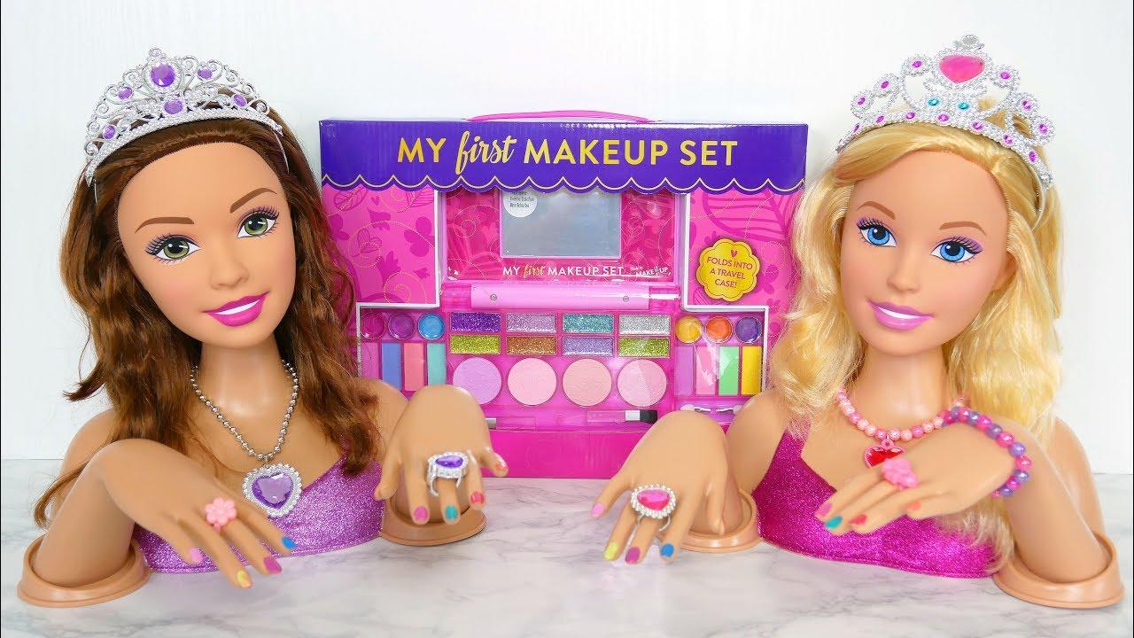 Doll Head Hair Styling: Princess Barbie Deluxe Styling Head Dolls Makeup دمية