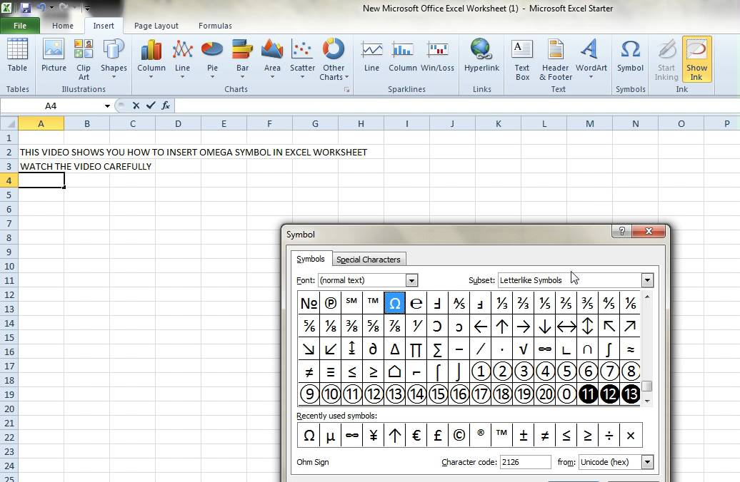 How To Insert Omega Sign In Ms Excel Worksheet Youtube