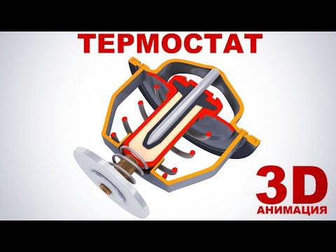 Термостат (автомобильный). Принцип работы в 3D анимации