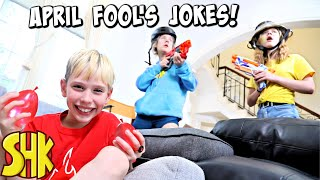 Noah's April Fool's Day Jokes on his Sisters! SuperHeroKids