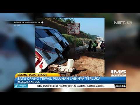 Bus Pembawa Jemaat GPIB Menabrak Pembatas Tol di Batang IMS