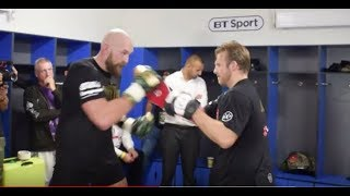ALREADY TRAINING FOR DEONTAY WILDER! - TYSON FURY BATTERS PADS AFTER PIANETA WIN IN BELFAST