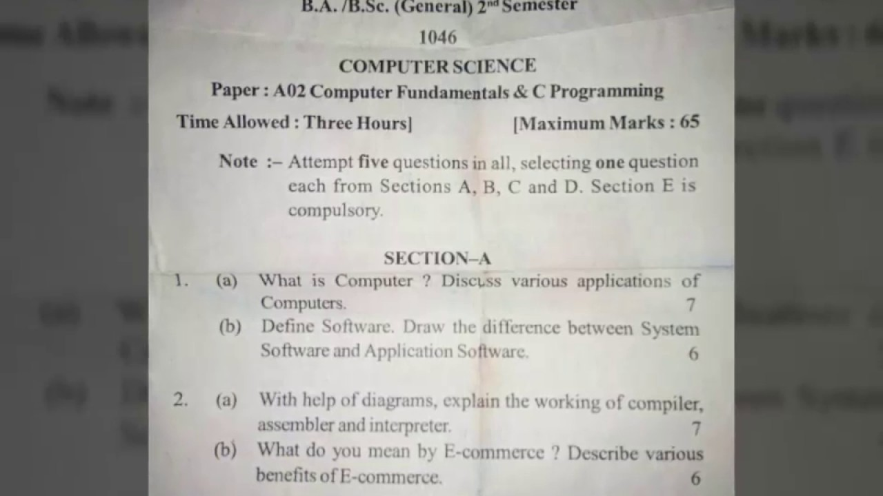 Computer Fundamentals & C Programming || QUESTION PAPER || COMPUTER SCIENCE