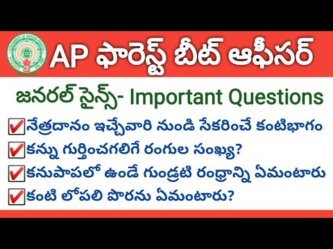 #APPSC Group1 Screening Test 2019 Model Question Paper-18   General Science Important Questions, Eye