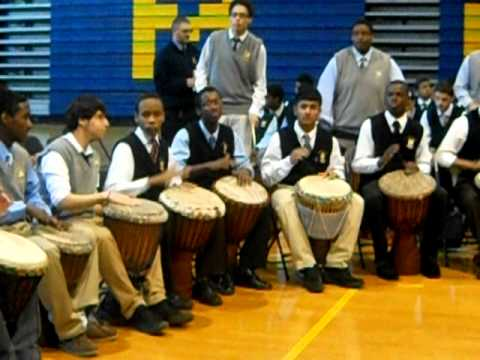 Drum Circle at Mount St. Michael Academy - YouTube