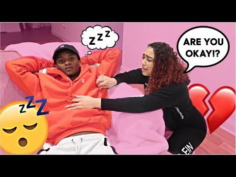 Sleeping With MY EYES OPEN Prank On Girlfriend! *CUTE REACTION*