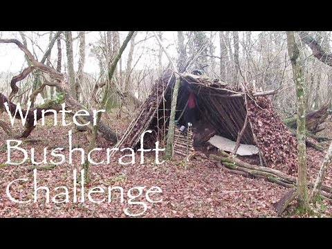 Winter 48hr Bushcraft and Survival Challenge. Primitive Debris Shelter.