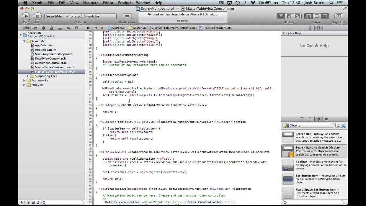 Xcode 4 6 tutorial uitableview with search bar part 2 for Xcode 6 tableview