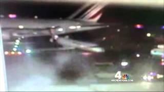 air france airbus 380 jet hits delta comair airplane at jfk airport
