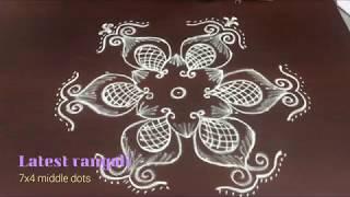 simple flower kolam pattern rangoli design with 7x4 middle dots || easy kolam rangoli designs