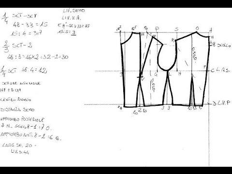 9ae172d663bd Scuola di cucito 5 Tracciato corpetto Base - YouTube