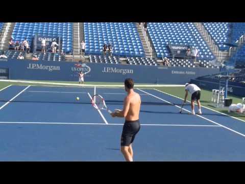 Michael Llodra and his son play tennis
