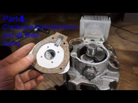 Part 4. DIY Internal Combustion Engine Made from Old Compressor - Crankcase from Aluminum & JB Weld
