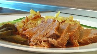 Говядина тушеная, с жареным картофелем видео рецепт. Книга о вкусной и здоровой пище