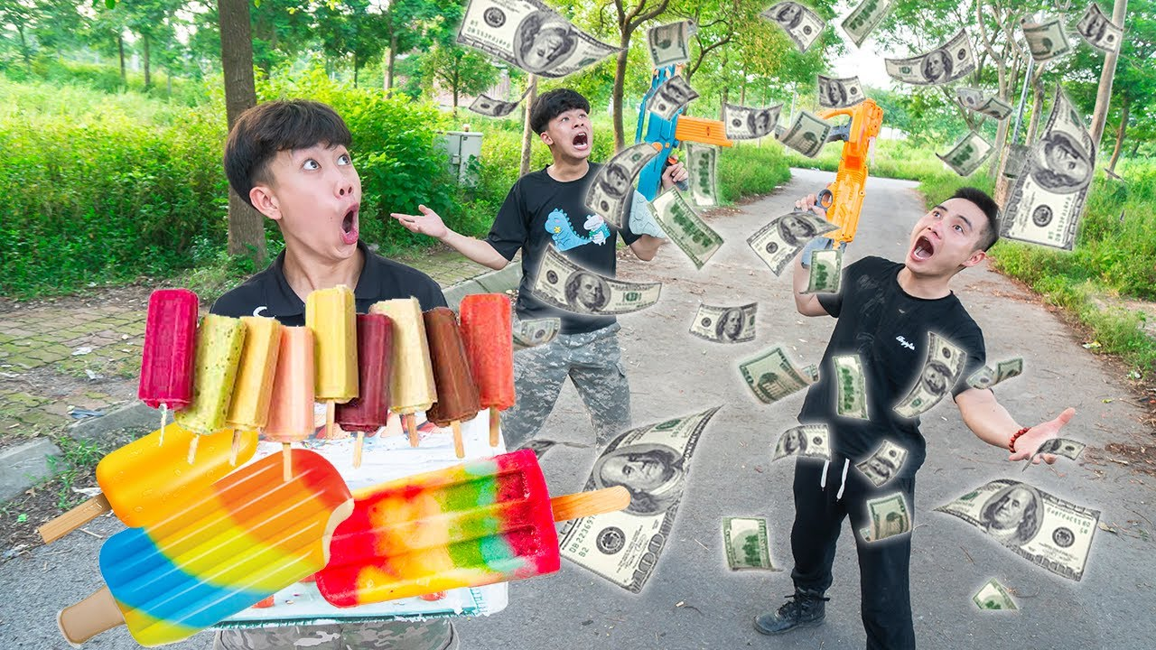Battle Nerf War: BEST SALESMAN go To Delivery & COMPETITION Nerf Guns Fight Man BOX ICE CREAM NERF