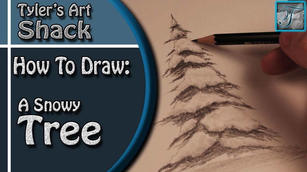 How to Draw a Snow Covered Tree - YouTube