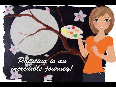 Moon Light Blossoms Acrylic Painting Speed Painting  Get your inner artist on! #lovesummerart