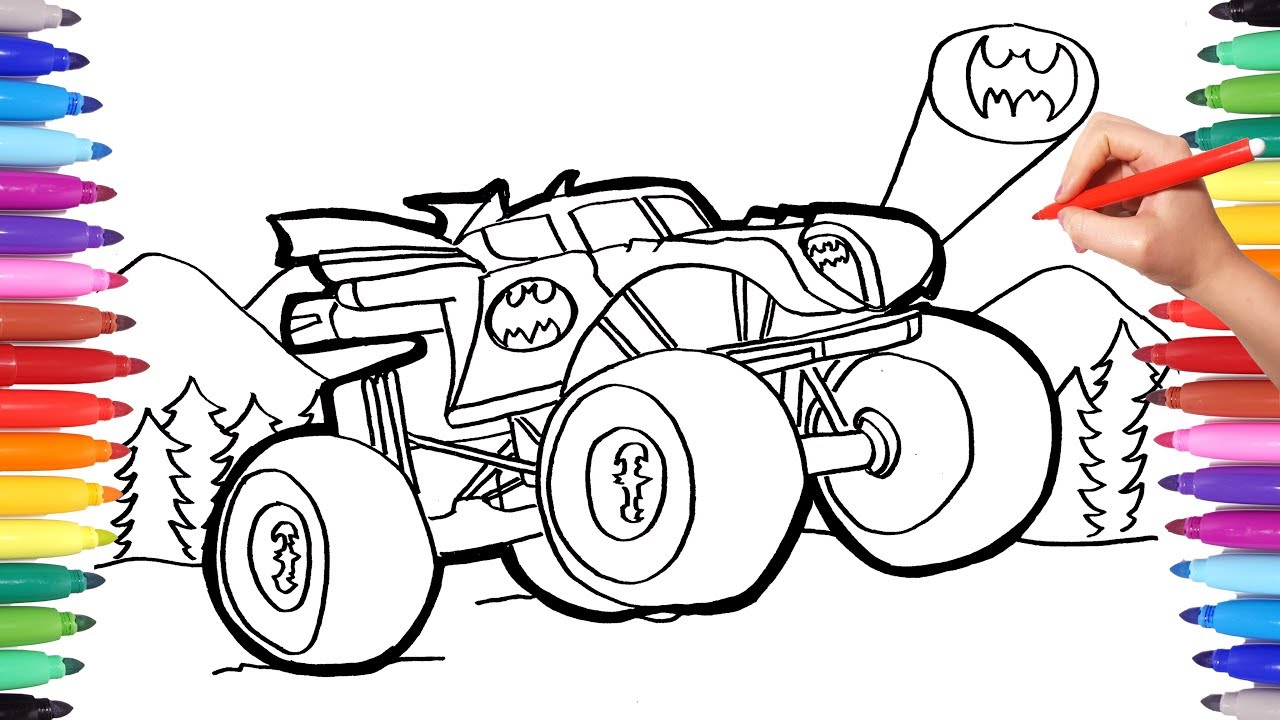 Batman Monster Truck Coloring Pages  Watch How to Draw Batman Monster  Truck  Batman