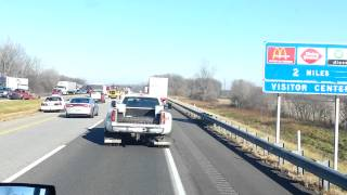 Two truck accident had the road closed in Indiana