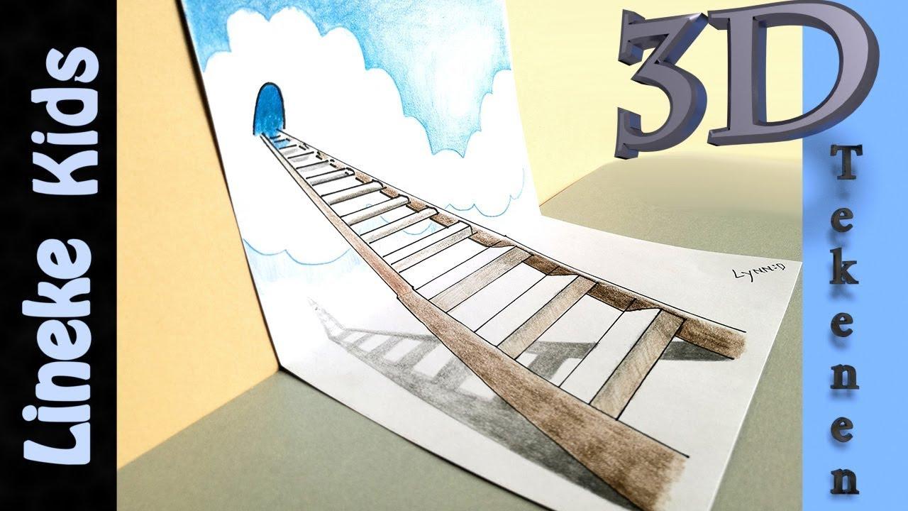 3d tekenen trap naar de hemel makkelijk voor kids en