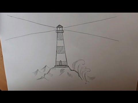 Как нарисовать маяк карандашом поэтапно