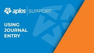 Aplos Support: Using Journal Entry