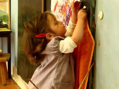 Montessori Infant Video Hanging Up Painting A