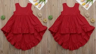 DIY Designer High Low Baby Frock For 6 TO 7 Year Full Tutorial