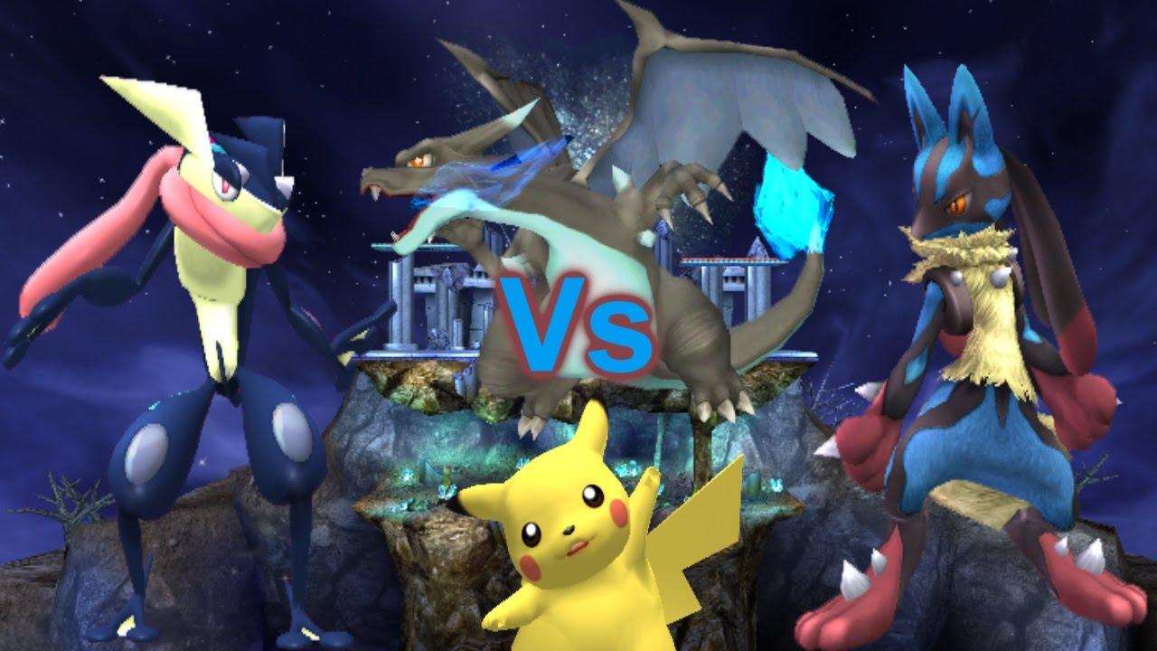 SSBB Modded Wii U Battles: Greninja Vs Mega Charizard X Vs ...