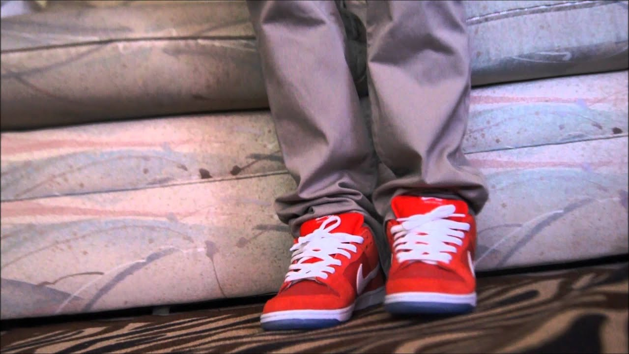 Nike Sb Dunk Low Challenge Red On Feet! - YouTube ab446636dc57