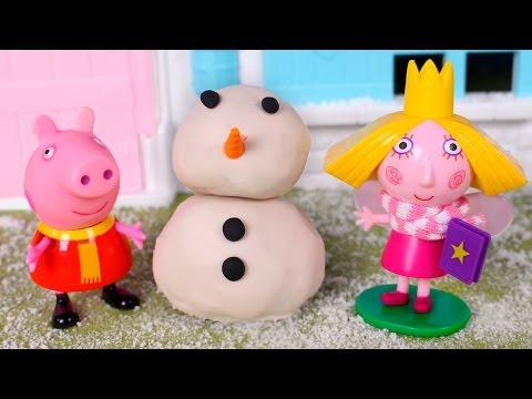 ❤ PEPPA PIG ❤ Peppa, Ben y Holly hacen un muñeco de nieve | Peppa Pig en Español
