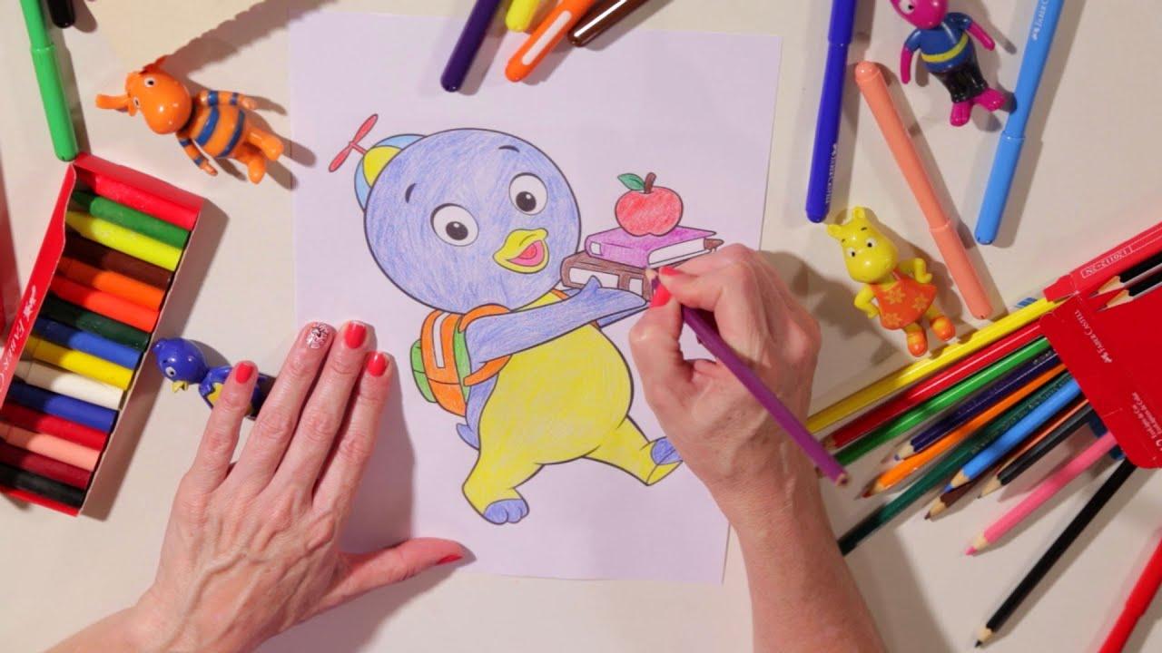 backyardigans colorindo o pablo e aprendendo suas cores com tasha