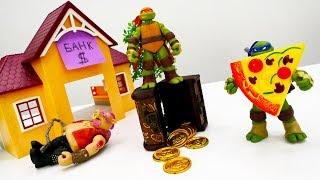 Черепашки Ниндзя ищут грабителей - Видео с игрушками