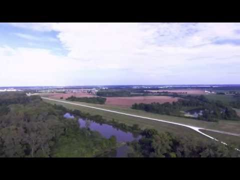 Mississippi and Missouri Rivers Confluence Aerial Footage