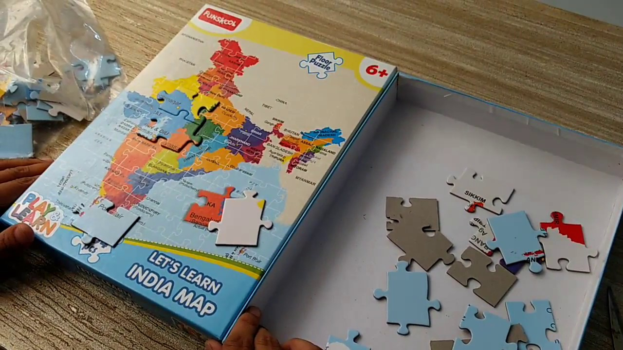 India Map Puzzle.Funskool India Map Jigsaw Floor Puzzle Unboxing Review Youtube