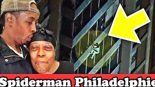 Un homme grimpe 19 étage un gratte ciel à Philadelphie pour sauver sa maman #spiderman