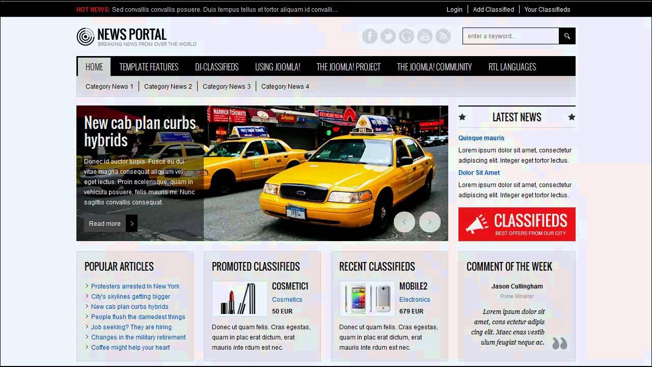 Joomla 3.x / 2.5 template: JM News Portal, responsive template ...