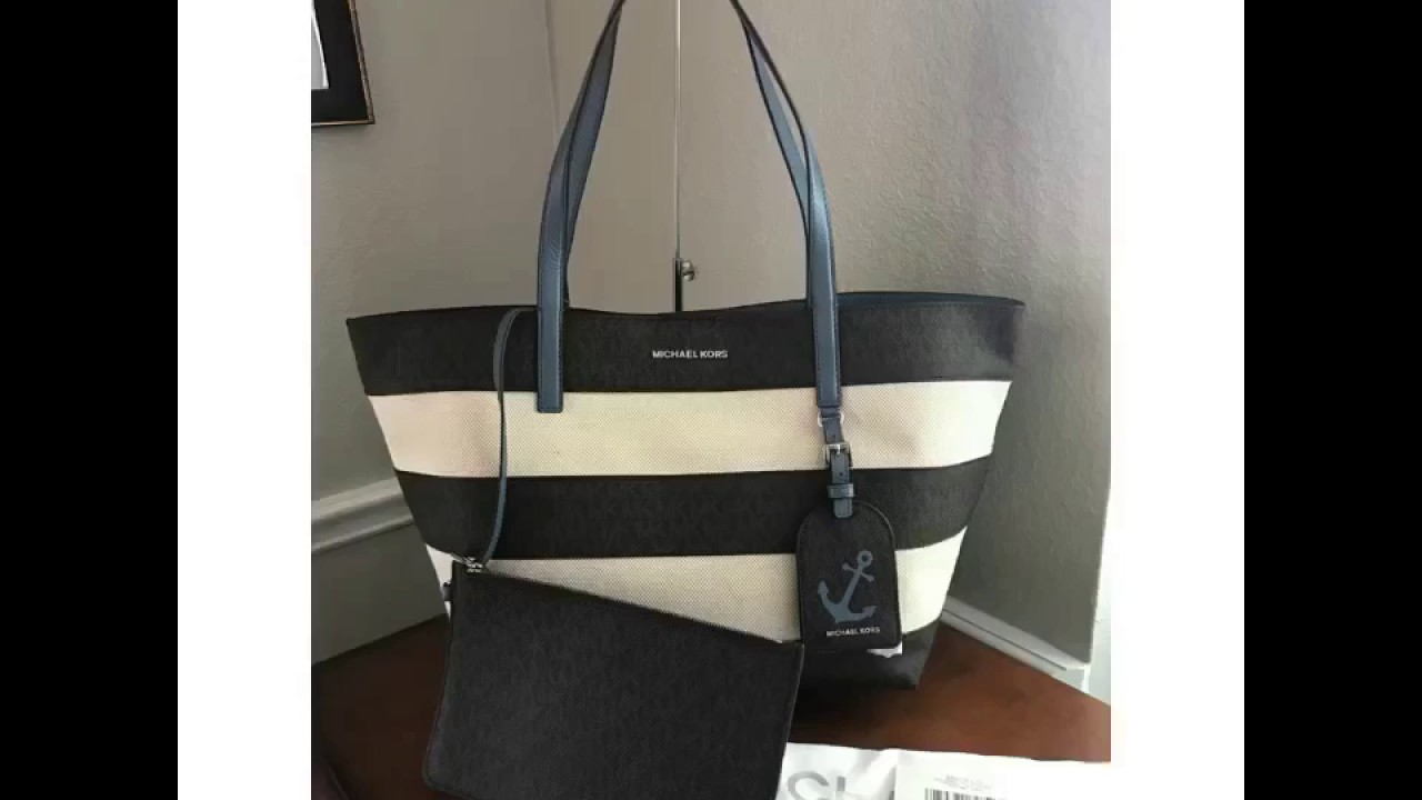 d5506b8369ae MICHAEL Michael Kors Striped ILLUSTRATIONS SIGNATURE CANVASS Large East  West Tote